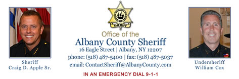 Albany County Sheriff Banner - Sheriff Craig D. Apple, Sr. - Click to visit the Albany County Sheriff website