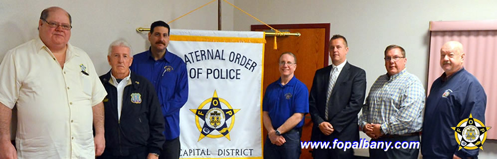 Capital District Fraternal Order of Police Albany, NY, NYSFOP President Mike Essig - third from left, his staff, Sheriff Carig Apple and Sheriff Jeffrey Murphy at April 2016 Meeting.