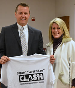 Albany County Sheriff Craig Apple with FOP Member Patty Farrell  holding Laree's Law shirt