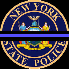 NY State Police emblem with black blue ribbon